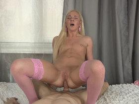 Blonde princess of pleasure in stockings gets anal